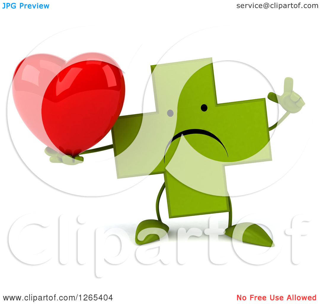 Clipart Of A 3d Unhappy Green Pharmaceutical Cross Character Holding A