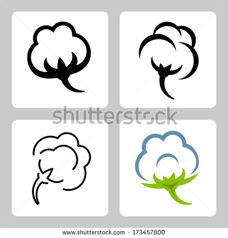 Cotton Boll Clipart Vector Cotton Icons Set