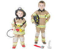Cute Little Boys In Fireman S Outfit Stock Images