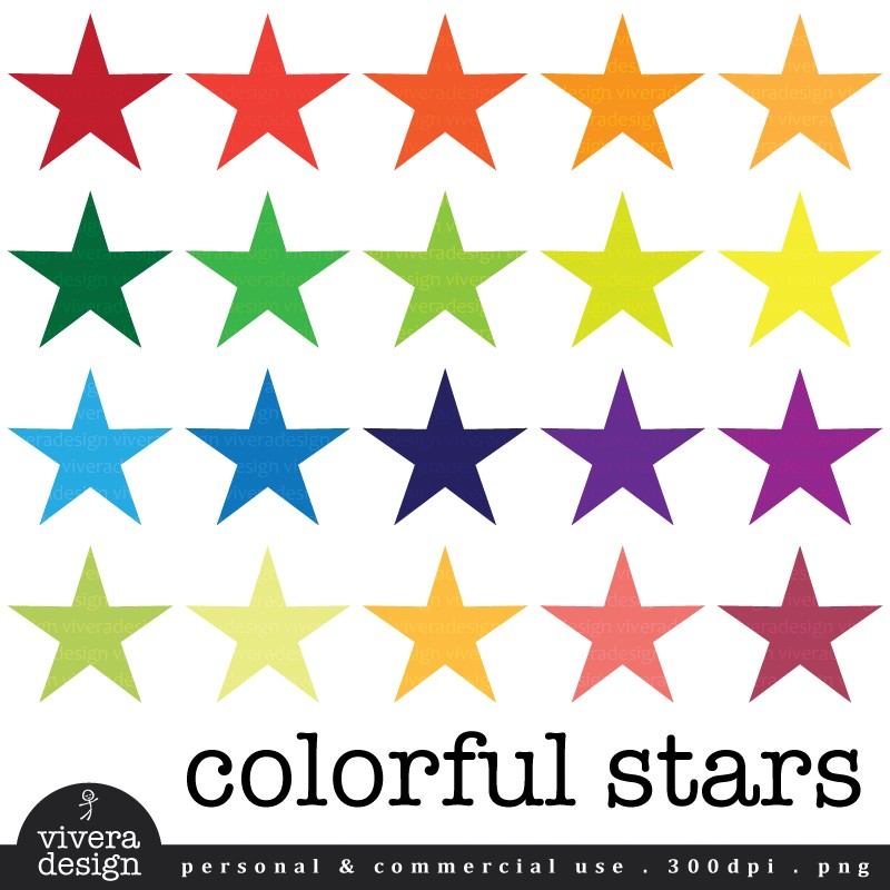 Digital Clip Art 20 Colorful Stars By Viveradesign On Etsy
