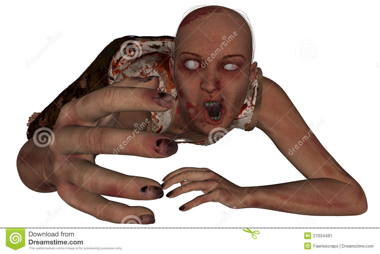Female Zombie Reaching Out On The Ground Covered In Dirt And Blood