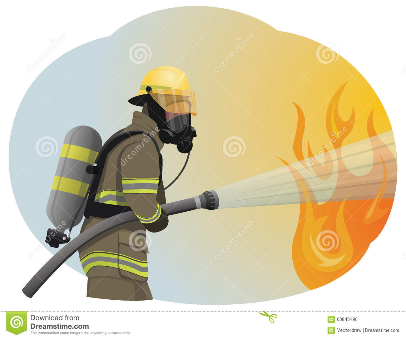 Fireman Extinguishes The Fire By Spraying The Water  He Is Clothed In