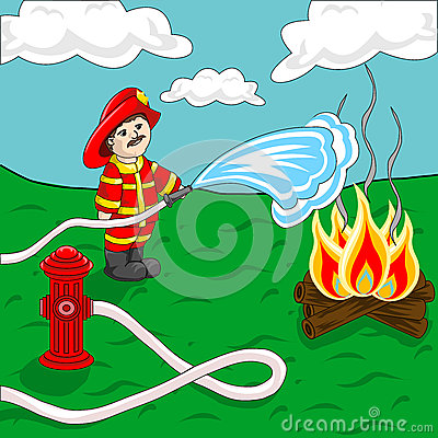 Fireman Using Fire Hose And Hydrant Spraying Water Over Campfire
