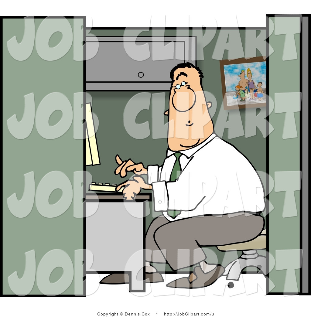 Larger Preview  Job Clip Art Of A Bored Guy Working In A Cubicle By