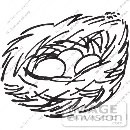 Nest Clipart Black And White  61699 Clipart Of A Nest With