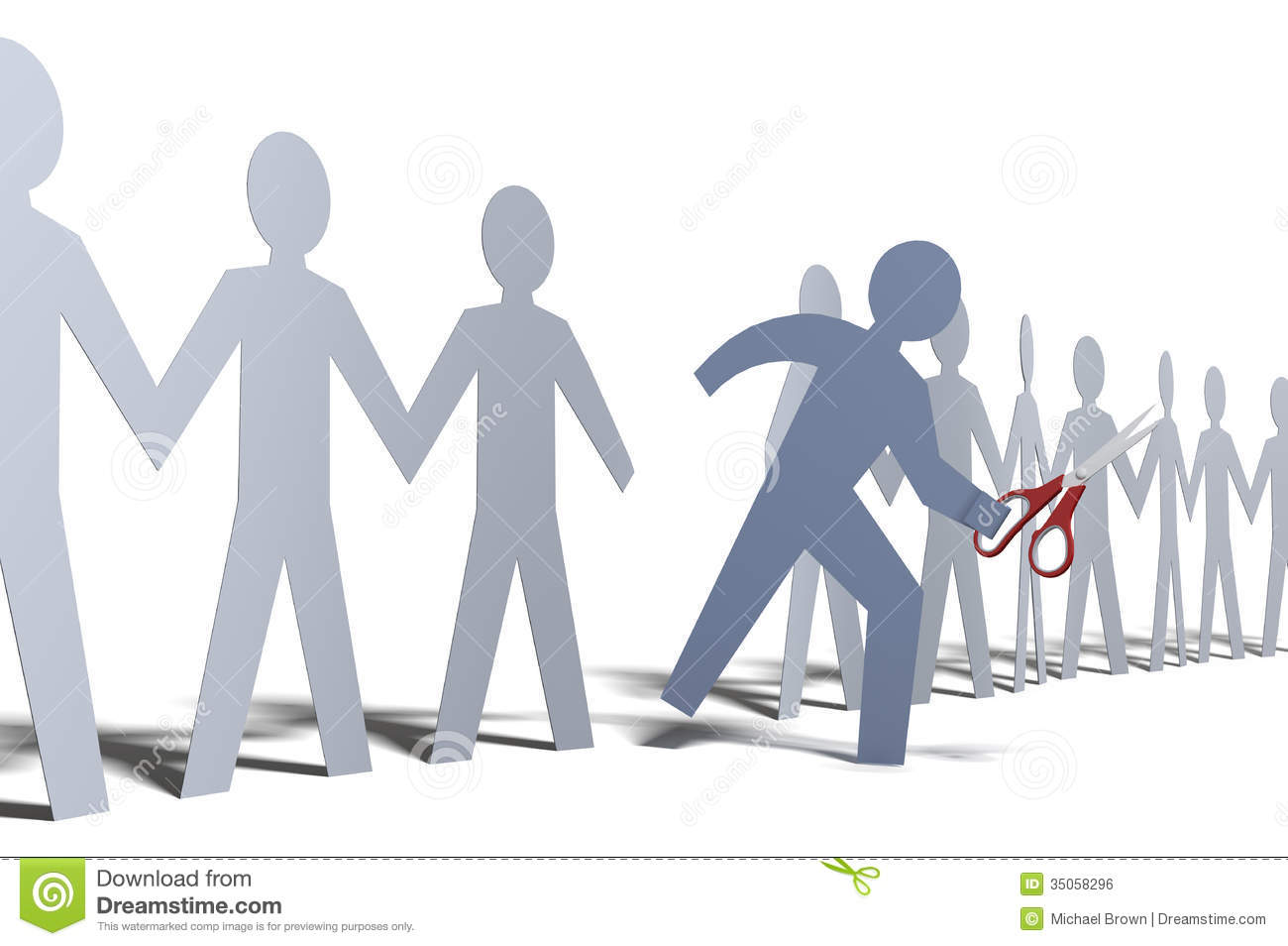 One Person Cut Out Of Paper Doll Line Royalty Free Stock Image   Image