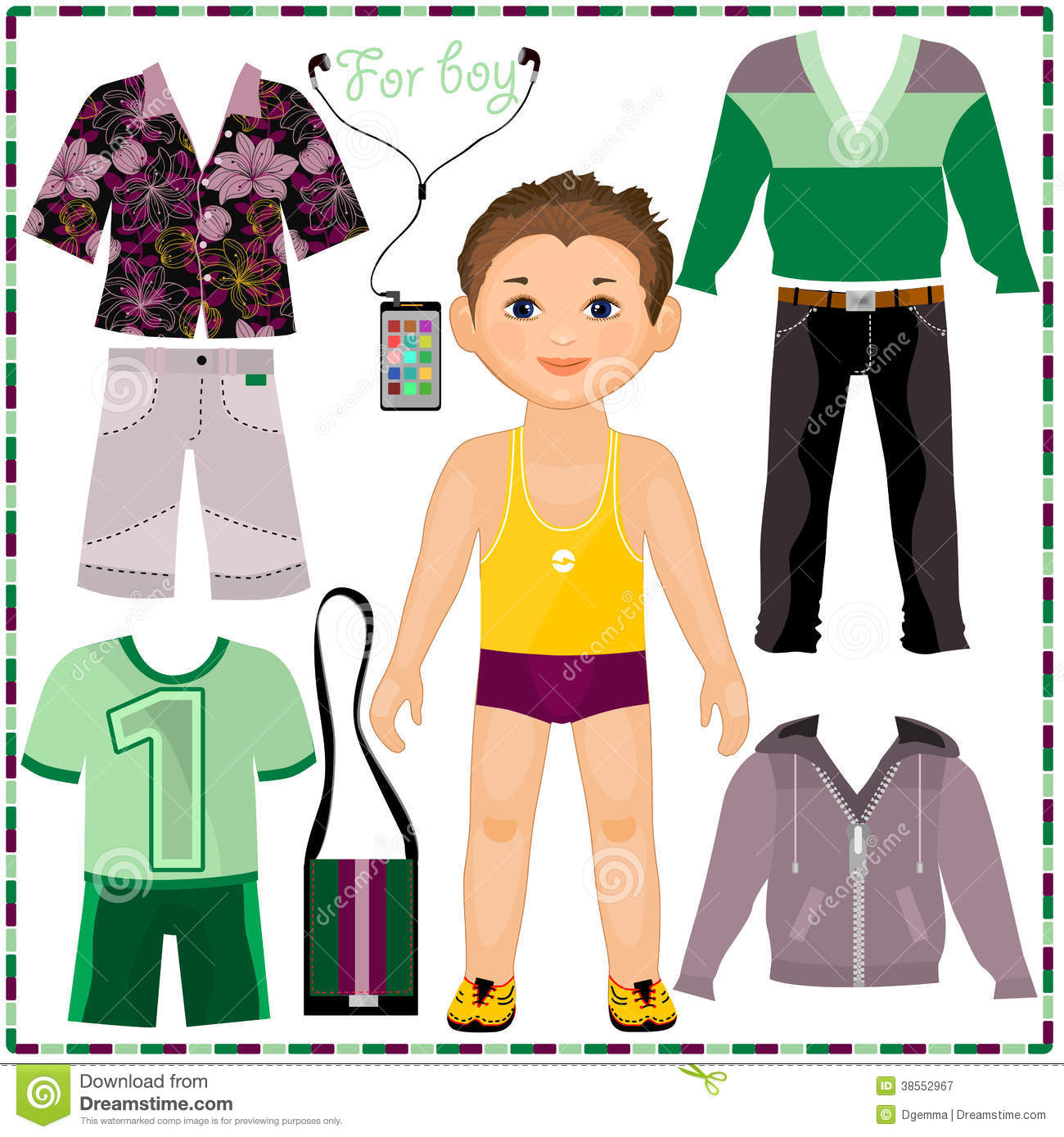 Paper Doll With A Set Of Fashionable Clothing  Cut Royalty Free Stock