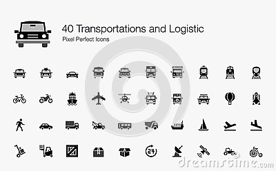 Stock Vector  40 Transportations Logistic Pixel Perfect Icons