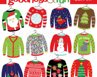 Ugly Christmas Sweaters Clip Art Designs