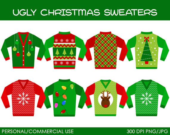 Ugly Christmas Sweaters Clipart   Digital Clip Art Graphics For