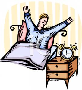 Yawning Man And An Alarm Clock   Royalty Free Clipart Picture