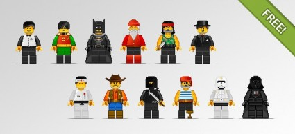 12 Lego Characters In Pixel Art Style Free Vector In Photoshop Psd