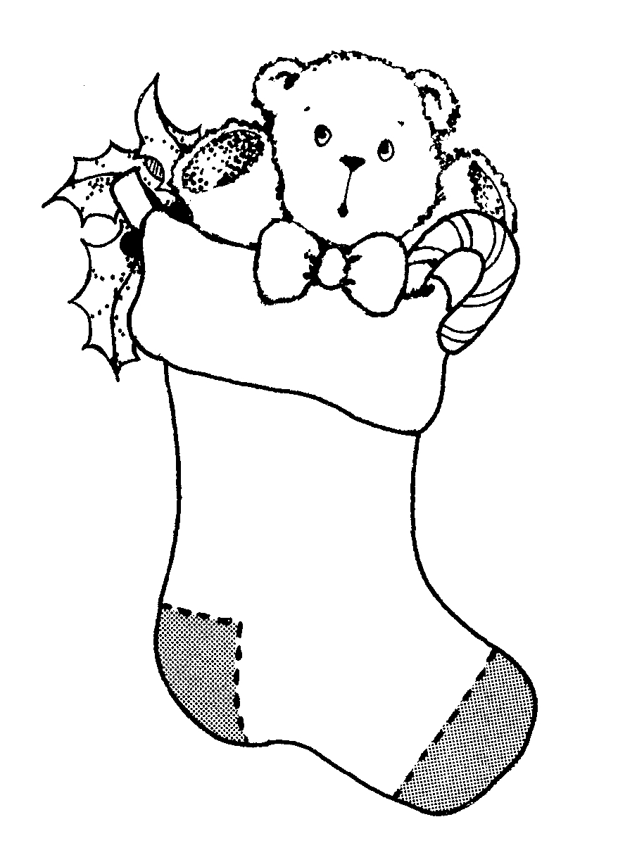 Christmas Stocking Black And White Clipart Clipart Suggest