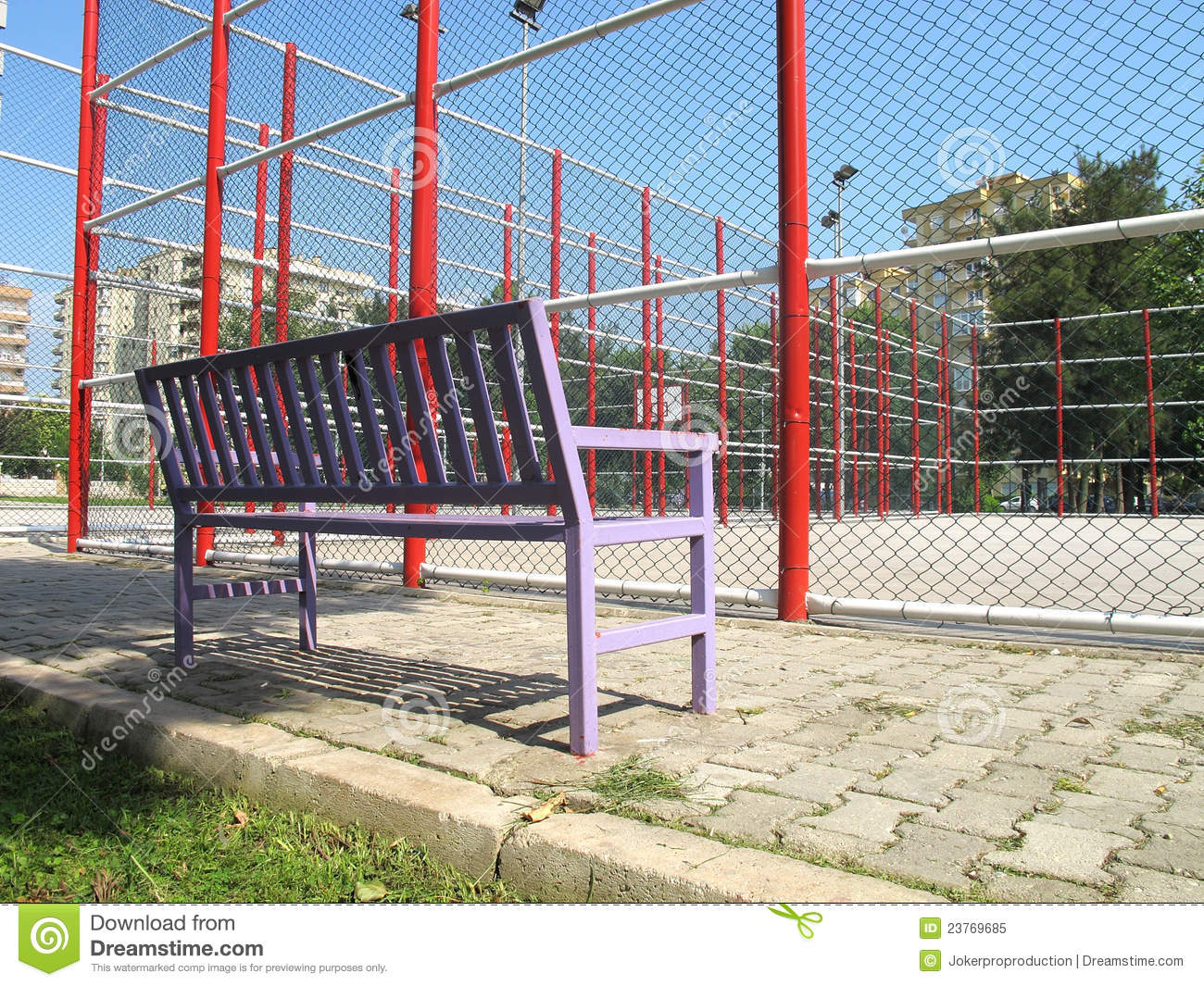 Basketball Field And Bench Royalty Free Stock Photo   Image  23769685