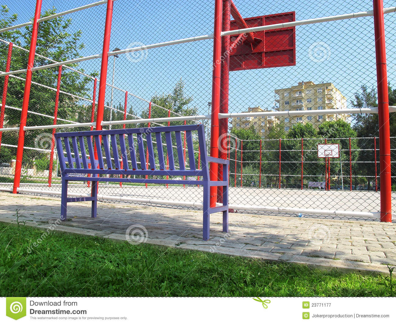 Basketball Field And Bench Royalty Free Stock Photography   Image