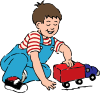 Boy Playing With Toy Truck Clip Art Vector