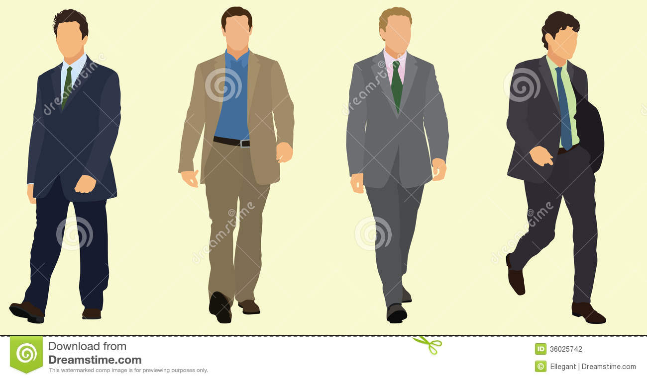 Business Men Walking In Suits