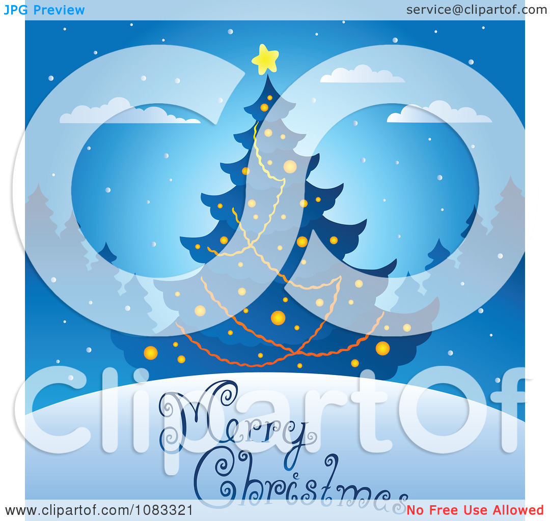 Clipart Blue Merry Christmas Tree