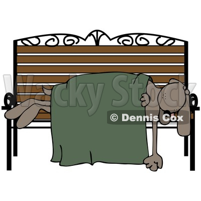 Clipart Illustration Of A Homeless Dog Sleeping With A Blanket On A