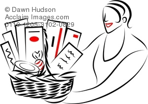 Clipart Illustration Of Simple Line Drawing Of A Woman Giving Or