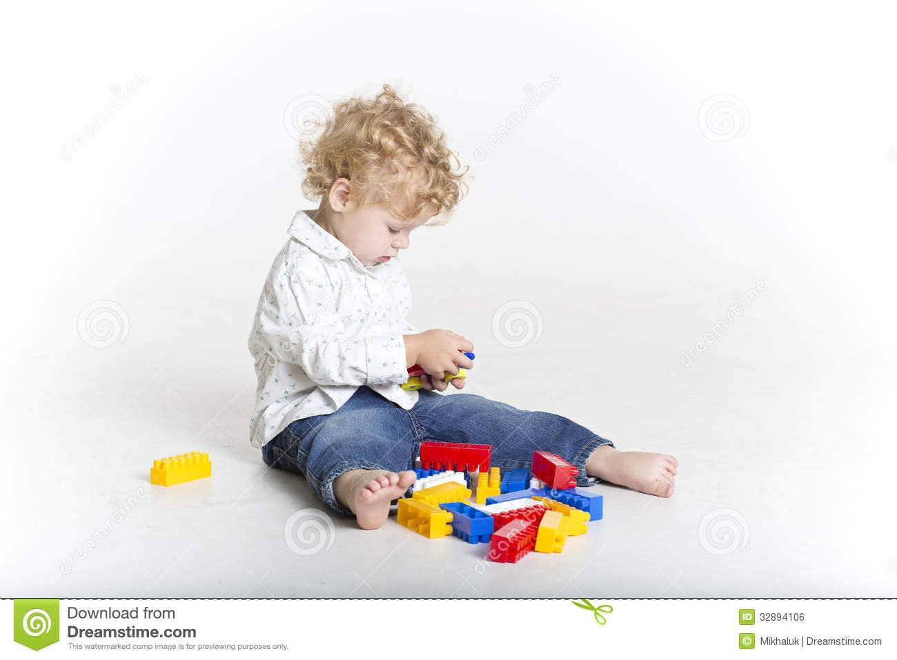 Cute Toddler Is Building With Legos Royalty Free Stock Image   Image