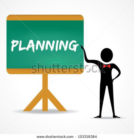 Draw Planning Word In Green Board With Men Vector   Stock Vector