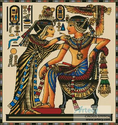 Egyptian Couple Cross Stitch Kit Or Pattern   Yiotas Xstitch