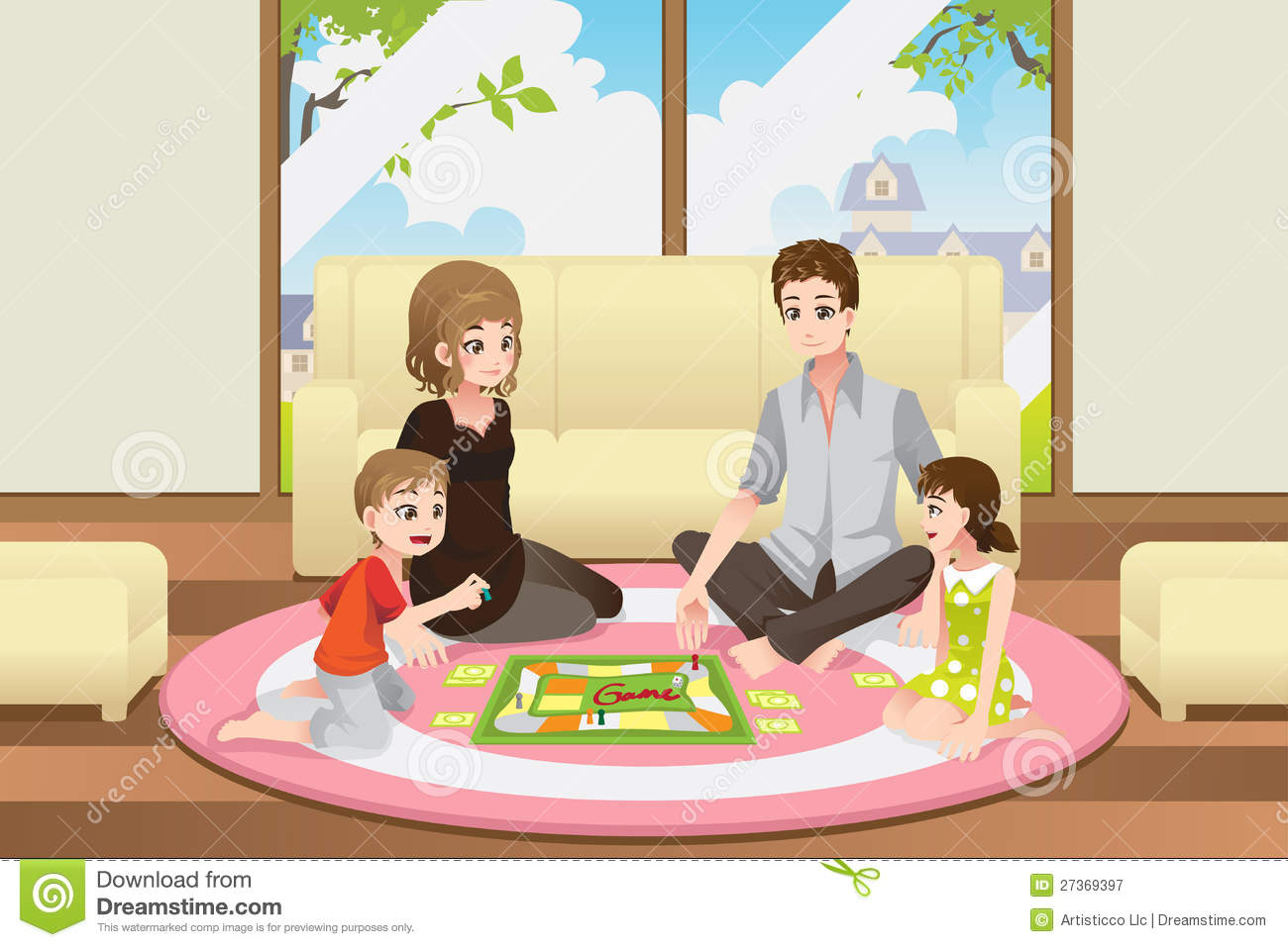 Family Playing Board Game Royalty Free Stock Photography   Image
