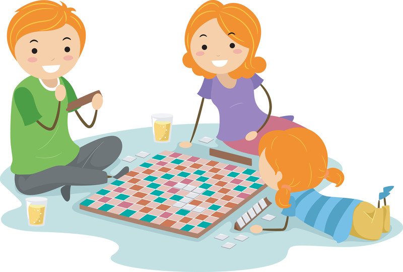 Family Playing Board Games Clip Art