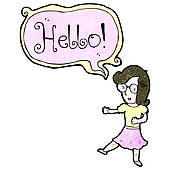 Just Saying Hello Clipart Cartoon Woman Saying Hello