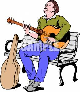 Man Sitting On A Park Bench Playing Guitar Clipart Image