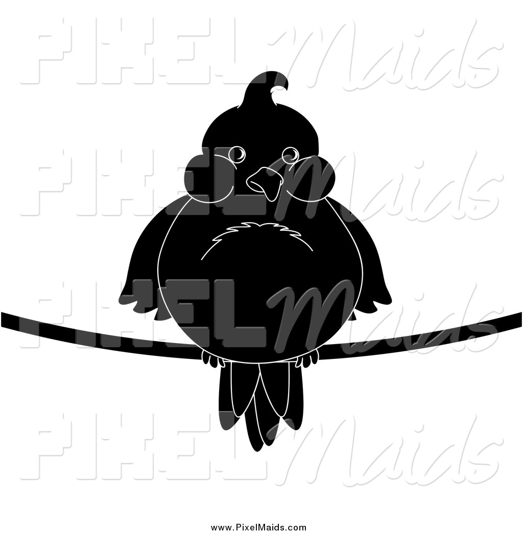 Of A Chubby Black And White Silhouetted Bird On A Wire By Pams Clipart