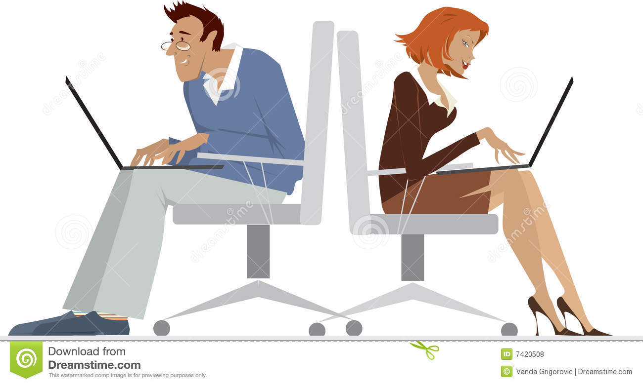 An Illustrated Background Of A Male And Female Office Employees