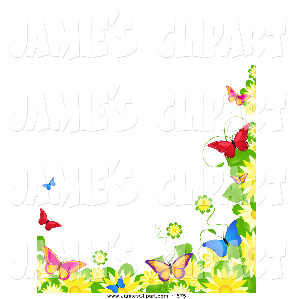 Clip Art Of A Border Of Blooming Spring Flowers And Colorful
