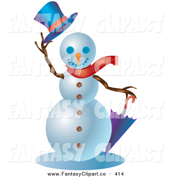 Clip Art Of A Friendly Winter Snowman Wearing A Red Scarf Holding An