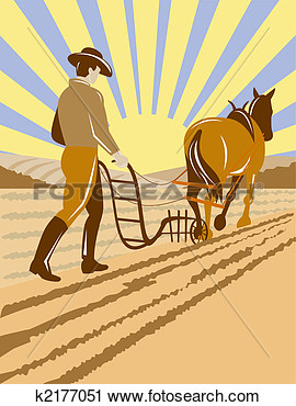 Clipart   Farmer Plowing With Old Horse  Fotosearch   Search Clip Art