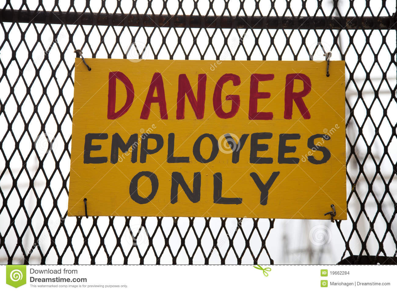 Danger Employees Only Stock Images   Image  19662284