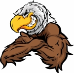 Eagle Mascot Flexing Arms Cartoon Vector Clipart Image   Team Clipart