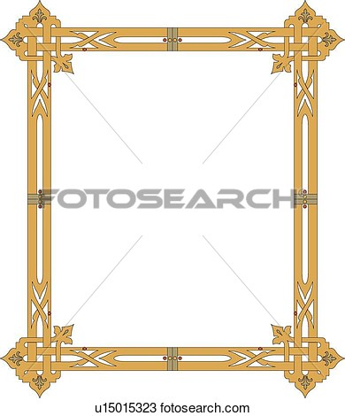 Gold Rectangle Frame View Large Clip Art Graphic