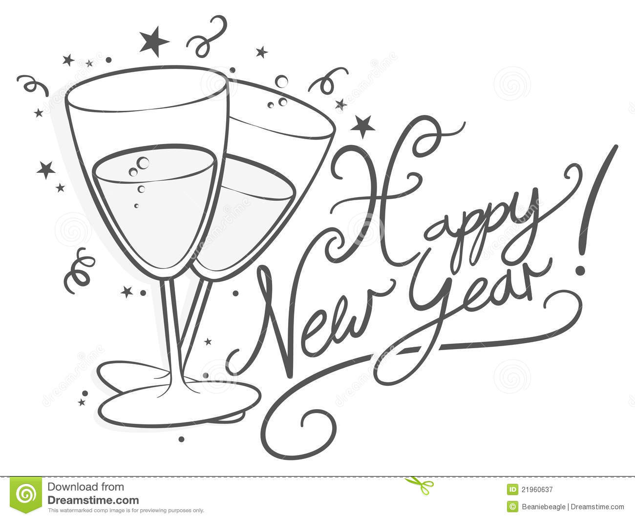 Happy New Year Clip Art Black And White Cliparts