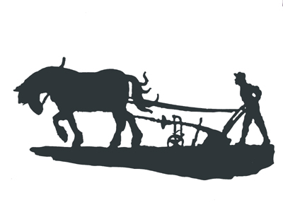 Horse And Plow Silhouette