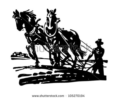 Horses Plowing Field   Retro Clipart Illustration   Stock Vector