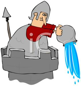 In A Tower Dumping A Bucket Of Water   Royalty Free Clipart Picture
