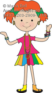 Little Girl Wearing Jewelry Clipart Image   Acclaim Stock Photography