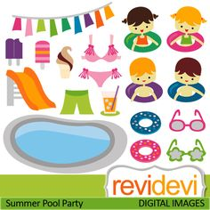 Pool Party Cliparts  Swimming Pool Slider Boys Girls Ice Cream