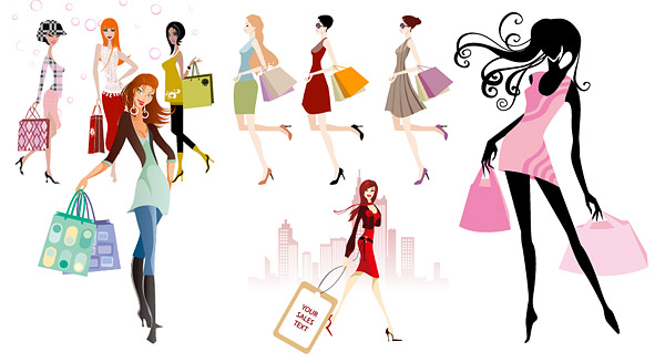 Rise Buildings Fashion Shopping Shopping Shopping Vector Material