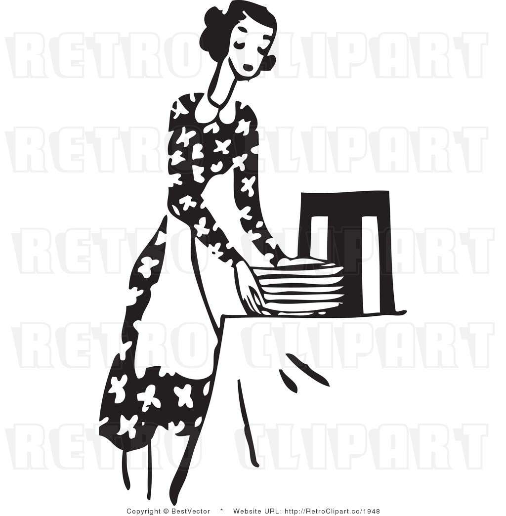 Setting Clipart Royalty Free Black And White Retro Vector Clip Art Of