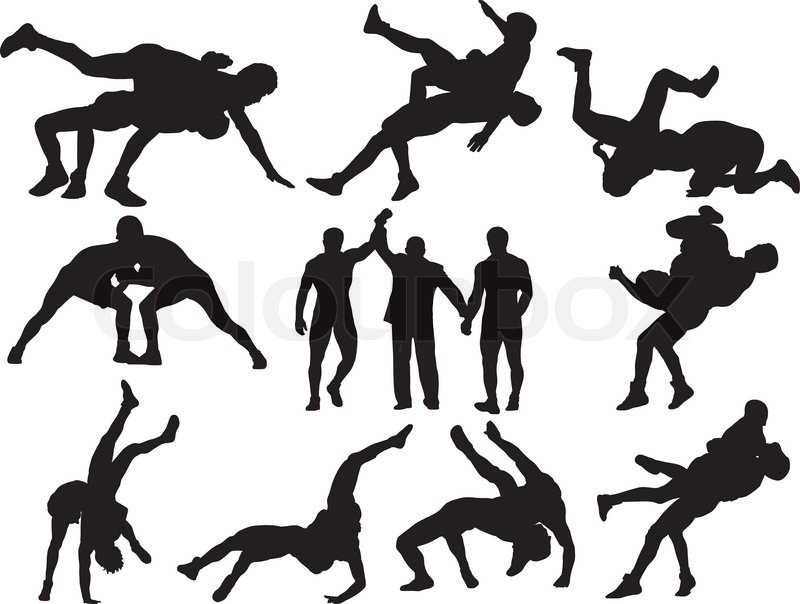 Stock Vector Of  Wrestling Silhouettes On White Background  This Could