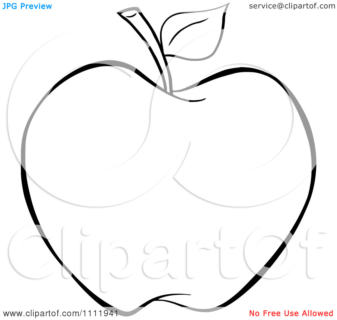 Apple Outline Clip Art Clipart Outlined Apple Royalty Free Vector
