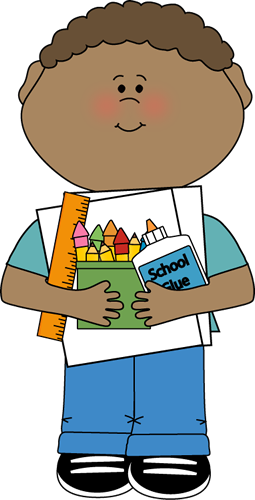 Boy Supply Monitor Clip Art Image   Boy Carrying A Stack Of School
